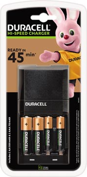 Duracell chargeur Hi-Speed Advanced Charger, 2 AA et 2 AAA piles inclus, sous blister