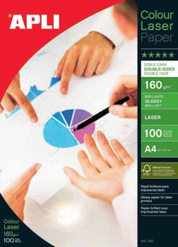 Apli papier photo Colour Laser ft A4, 160 g, paquet de 100 feuilles