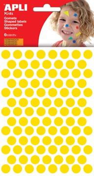 Apli Kids gommettes, cercle diamètre 10,5 mm, pochette de 528 pièces, jaune