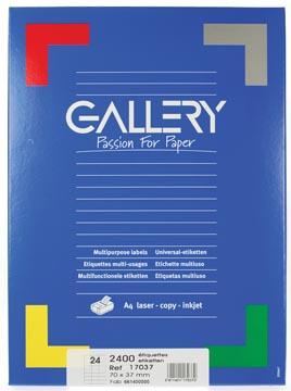Gallery étiquettes blanches, ft 70 x 37 mm (l x h), coins carrés, 24 par feuille