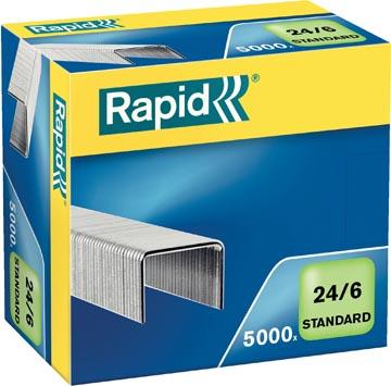 Rapid Agrafes 24/6, galvanisées, boîte de 5.000 agrafes