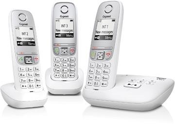 Gigaset A415 téléphone DECT sans fil avec répondeur intégré, avec 2 combinés supplémentaires, blanc