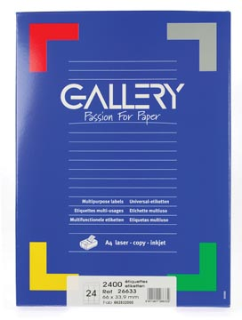 Gallery étiquettes blanches, ft 66 x 33,9 mm (l x h), coins arrondis, 24 par feuille