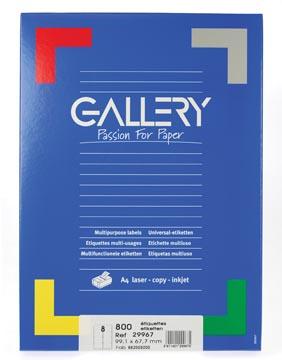 Gallery étiquettes blanches, ft 99,1 x 67,7 mm (l x h), coins arrondis, 8 par feuille