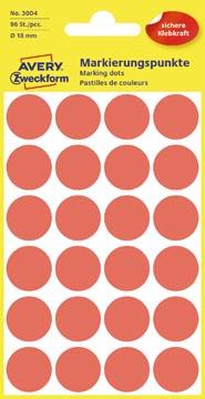 Avery Etiquettes ronds diamètre 18 mm, rouge, 96 pièces