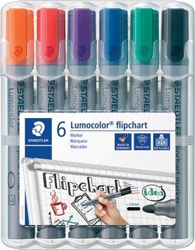 Marqueur pour tableaux de conférence Lumocolor, 6 pièces en couleurs assorties