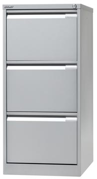 Bisley classeur dossiers, ft 101,6 x 47 x 62,2 mm (h x l x p), 3 tiroirs, argenté