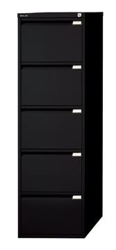 Bisley classeur dossiers, ft 151 x 47 x 62,2 mm (h x l x p), 5 tiroirs, noir