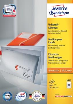 Avery Zweckform 3653, étiquettes universelles, Ultragrip, blanc, 100 feuilles, 105 x 42,3 mm