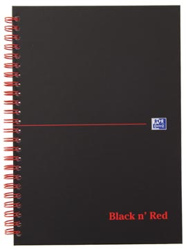 Oxford BLACK N' RED cahier spiralé en carton, 140 pages ft A5, quadrillé 5 mm