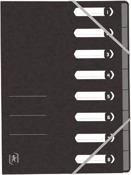 Elba Oxford Top File+ trieur, 8 compartiments, avec des élastiques, noir