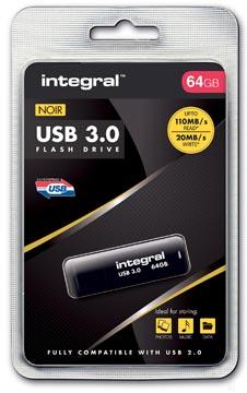 Integral clé USB 3.0, 64 Go, noir