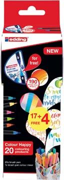 Edding Colour Happy box, assortiment de 21 pièces en couleurs assorties (17 + 4 gratuit)