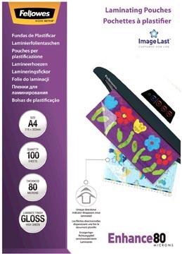 Fellowes pochette à plastifier Enhance80, ft A4, 160 microns (2 x 80 microns), paquet de 100 pièces