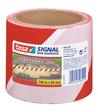 Tesa bande à clôturer ft 80 mm x 100 m, rouge/blanc