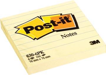Post-it Notes, ft 76 x 76 mm, jaune, ligné, bloc de 100 feuilles