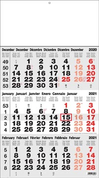 Calendrier 3 mois Benelux, 2021