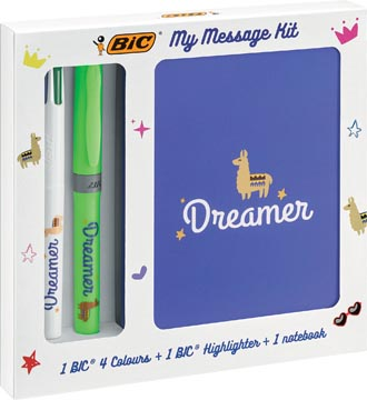 Bic Message Kit Dreamer, stylo bille 4 colours, surligneur highlighter et carnet de notes ft A6