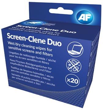 AF Screen-Clene Duo lingettes écran, 20 paires de lingettes humides et secs