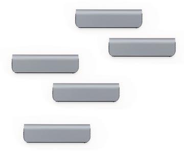 Durable Durafix clip d'affichage magnétique adhésif, 60 mm, paquet de 5 pièces, argent