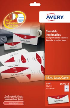 AVERY Cartes de nom imprimables 10 feuilles, 40 pièces (ft 120 x 45 mm)