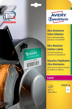 Avery étiquettes polyéthylène ultra-résistantes ft 210 x 148 mm (l x h), boîte de 20 étiquettes