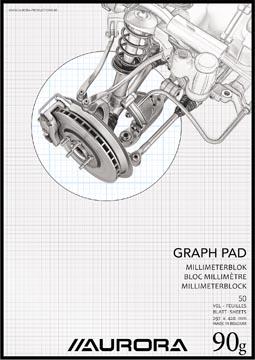Aurora papier millimétré, ft A3, bloc de 50 feuilles