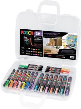 Posca marqueur peinture, boîte de 20 pièces, en couleurs assorties, dessin Metallic
