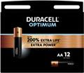 Duracell batterij Optimum AA, blister de 12 pièces